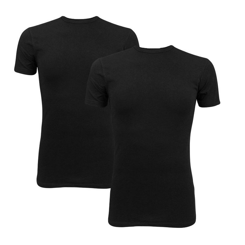 Afbeelding van Claesens basic 2 pack O hals shirt zwart heren
