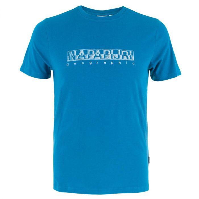 napapijri sallar o-hals logo shirt blauw
