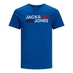 corp stripe & block logo O-hals shirt blauw