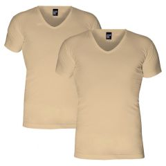 no neck 2-pack V-hals shirts beige