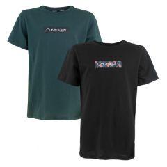 jongens modern cotton 2-pack middle logo zwart & groen