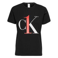 dames stretch O-hals crewneck big logo shirt zwart