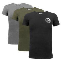 stretch 3-pack randal O-hals shirt groen / grijs / zwart
