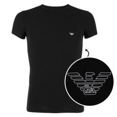 stretch crewneck shirt eagle logo zwart