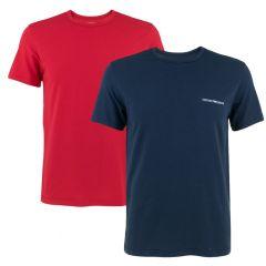 small logo 2-pack O-hals shirts blauw & rood