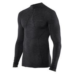 technisch wool-tech rits O-hals long sleeve zwart