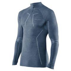 technisch wool-tech rits O-hals long sleeve blauw