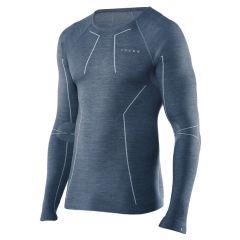 technisch wool-tech O-hals long sleeve blauw
