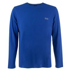 embroidery logo O-hals shirt long sleeve blauw
