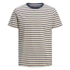 striped O-hals shirt beige