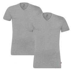 stretch 2-pack V-hals shirt grijs