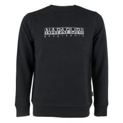 berber logo O-hals sweater zwart