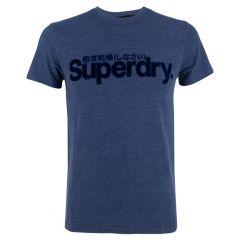 suede logo O-hals shirt blauw
