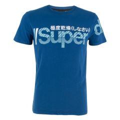 split logo O-hals shirt blauw
