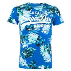 AOP vl O-hals shirt blauw