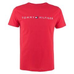 cotton logo O-hals shirt rood