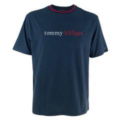 serif logo o-hals shirt blauw