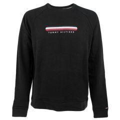 track logo O-hals sweater zwart