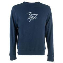 handwritten logo O-hals long sleeve sweater blauw
